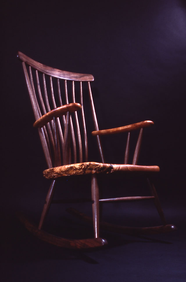 The Michael Elkan Rocker: Maple Burl with Oregon Black Walnut by Michael Elkan