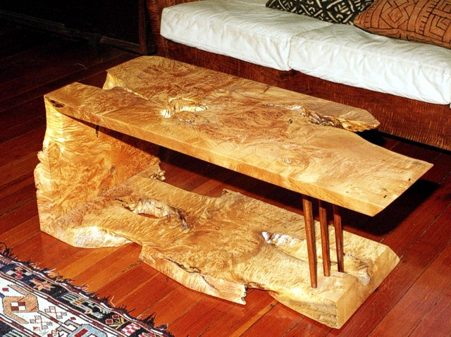 Folded Board Coffee Table: Birdseye Maple Burl by Michael Elkan