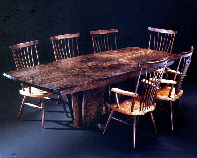 Leaves of a Tree Table Set in Walnut with seats & arms of matched Maple Burl by Michael Elkan