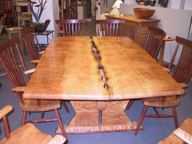 Natural Caverns Dining Set in Quilted Maple with Walnut & Maple chairs by Michael Elkan