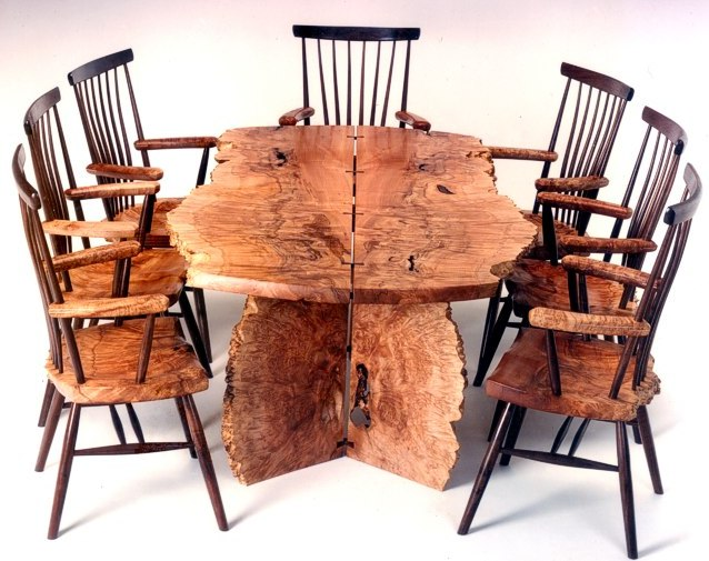 Puro Natural Dining Set in Maple Burl & Walnut by Michael Elkan