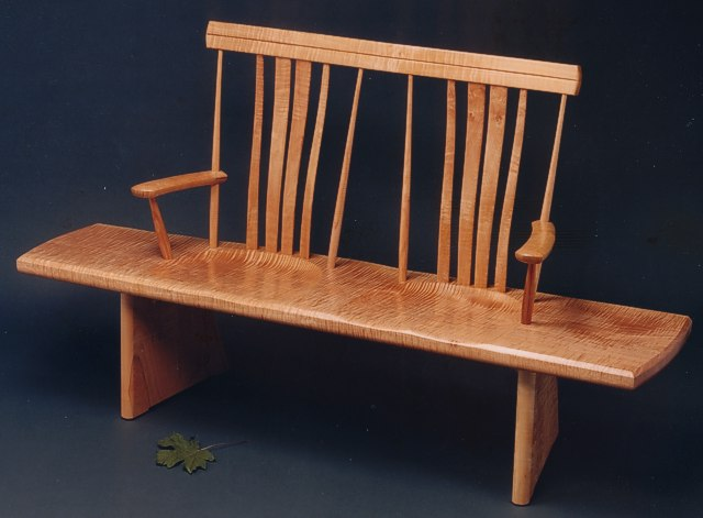 Single Board Bench Seat in Fiddleback Maple by Michael Elkan