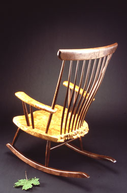 The Michael Elkan Rocker with Steam Bent Back and Slats by Michael Elkan