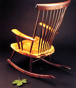 The Michael Elkan Rocker with Steam Bent Back and Slats -- click for more on early work